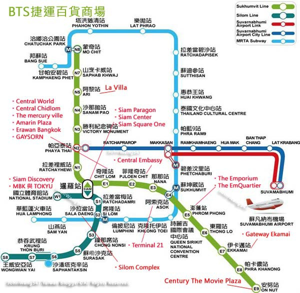 BTS捷運曼谷百貨列表