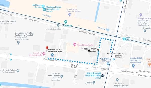 D Varee Xpress Hotel Makkasan Bangkok MAP.jpg