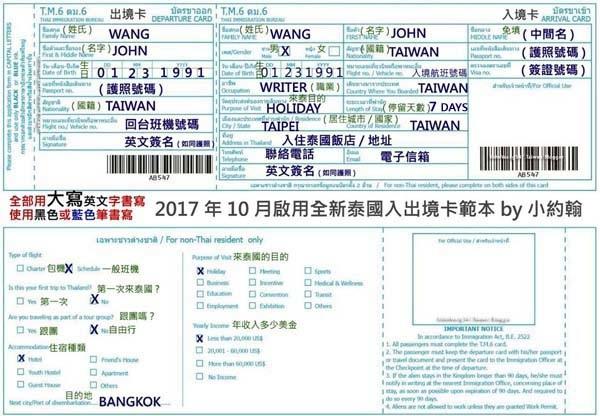 泰國出入境卡說明(小約翰)