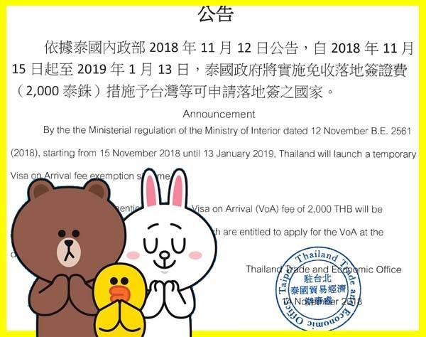 泰國落地簽證申請免費公告2018