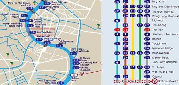 Chao Phraya Express Boat Route MapS