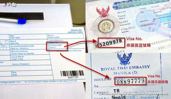 泰國簽證號碼 Visa No