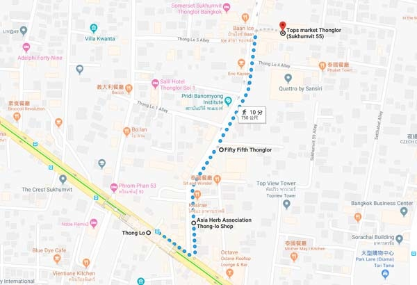 Madame Heng soap Thong Lo branch map