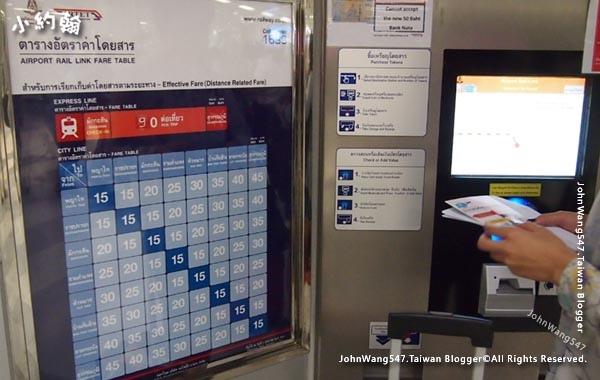 曼谷BKK機場快線價目表