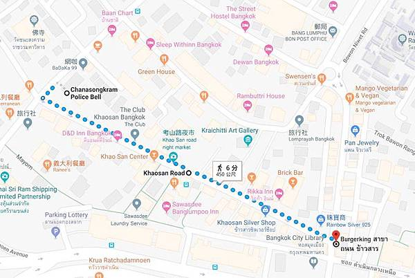 Khao San Road 450meter map