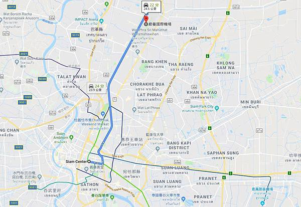 Don Muang Airport to siam center MAP
