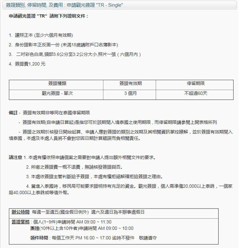 申請泰國觀光簽證TR須附文件