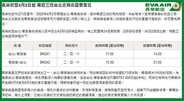2020長榮航空4月2日起台北直飛泰國普吉島