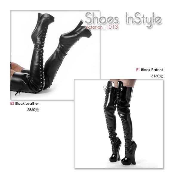 《8吋》美國品牌 FEMME 漆皮真皮厚底高跟包鞋馬靴.bmp