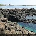 常年受到海浪侵蝕,而形成狹長的海蝕溝