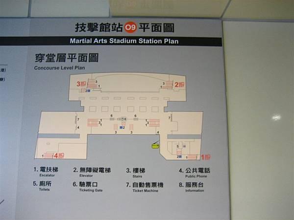 技擊館站位置示意圖