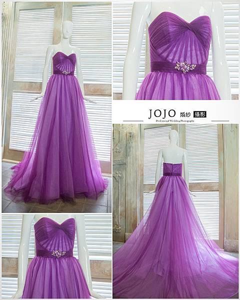 台中禮服出租 低調氣質紫身材修飾晚禮服 伴娘服 中部婚紗 媽媽裝 大尺碼
