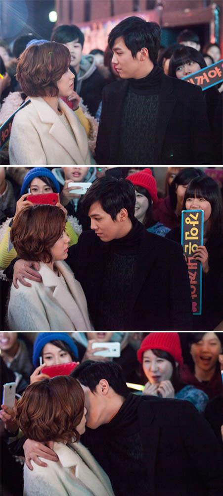 《百年的新娘》曝劇照 李洪基和楊真誠在眾人圍觀下拍吻戲