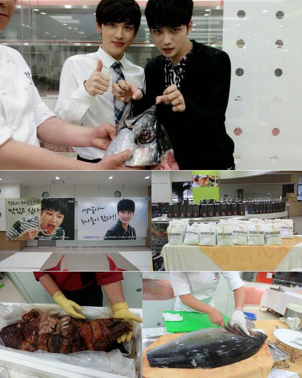 JYJ金在中日韓粉絲探班《Triangle》片場送各種禮物