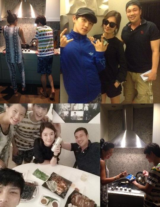 JYJ金在中與《Triangle》演員們為吳妍秀準備送別會