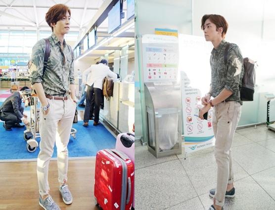 申成祿 機場時尚,酷酷的休閒裝..8等身完美比例 「引人矚目」