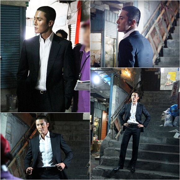 趙東赫,「壞小子們」拍攝現場..短髮-黑色西裝 「引人矚目」