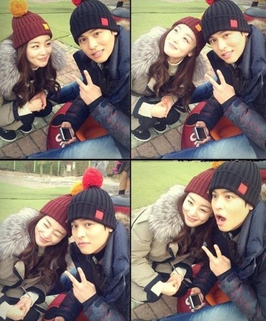 「薔薇色戀人們」韓善花,和李章宇頭戴情侶帽 「薔薇次道的可愛合影」