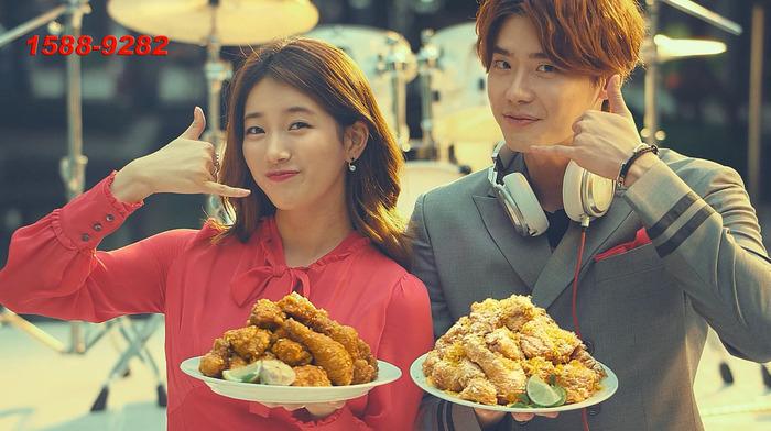 秀智李鍾碩代言炸雞廣告 變身樂團甜美登場