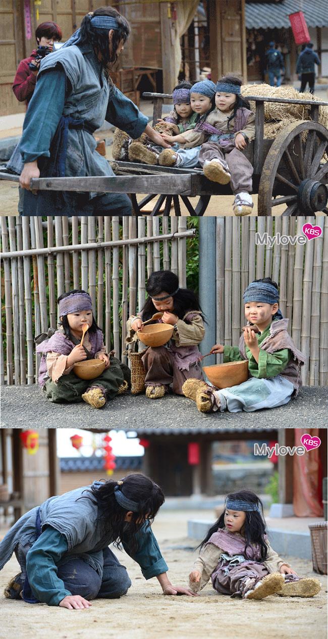 《超人》三胞胎現古裝劇拍攝現場 化身小乞丐展演技