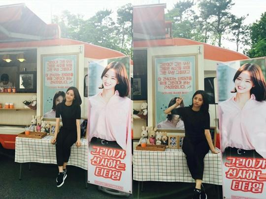 Girls Day惠利 粉絲們為「戲子」拍攝現場送上點心車