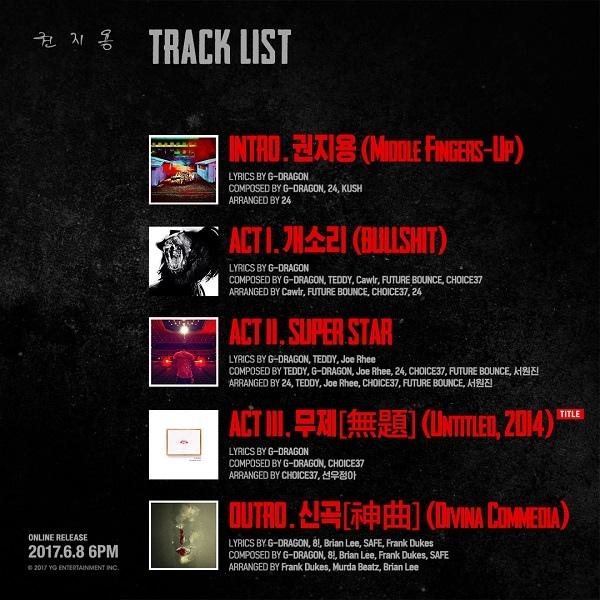G-Dragon今日發新專輯《權志龍》 收錄5首歌曲_6