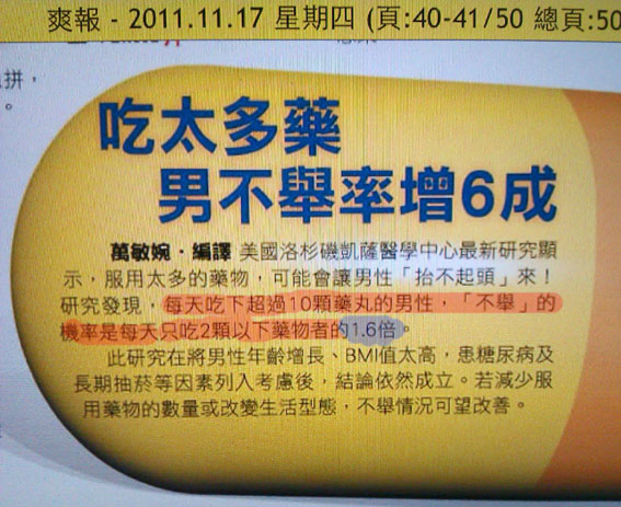 2011.11.17 吃太多藥 男不舉率增六成