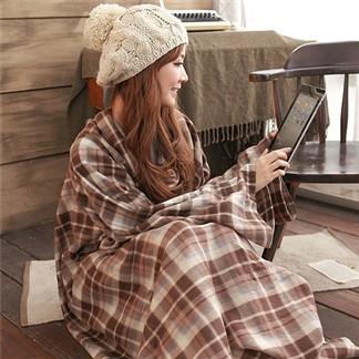 台灣精製-歐風格紋多用途懶人毯袖毯-冷氣毯_超值3入組