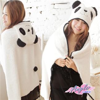 [天使霓裳] 可愛貓熊‧珊瑚絨造型懶人披肩 懶人毯(白)