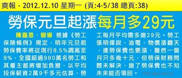 2012.12.10 勞保元旦起漲 每月多29元
