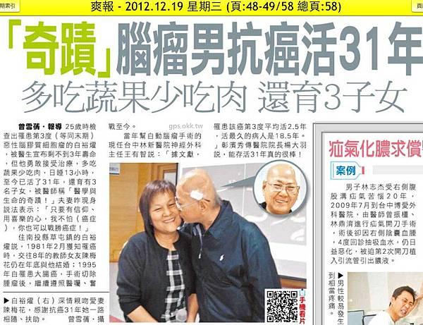 2012.12.19 奇蹟 腦瘤南抗癌活31年 多吃蔬果少吃肉 還育3子女