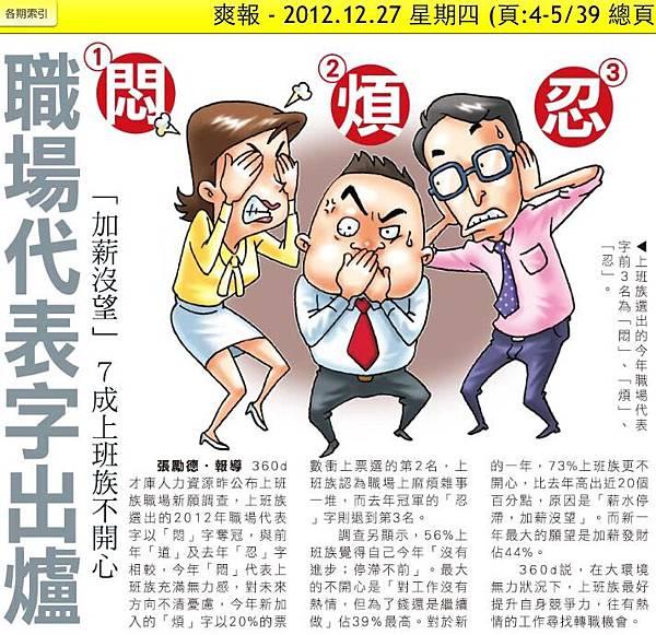 2012.12.27 悶 煩 忍 職場代表字出爐 加薪沒望7成上班族不開心
