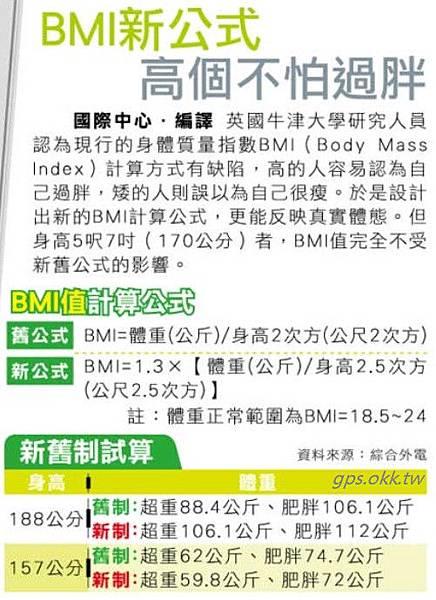 2013.01.21 BMI新公式 高個不怕過胖
