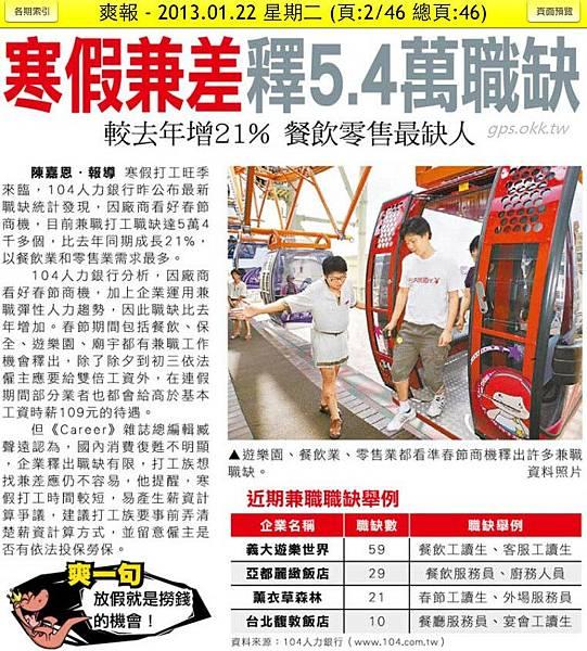 2013.01.22 寒假兼差釋5.4萬職缺 較去年增21% 餐飲零售最缺人