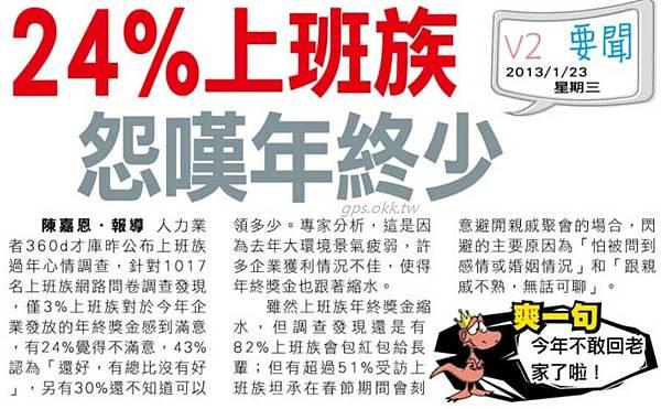 2013.01.23 24%上班族怨嘆年終少