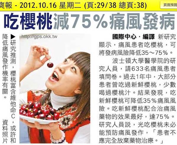 2012.10.16 吃櫻桃減75%痛風發病