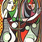 畢卡索的圖--少女臨鏡.jpg