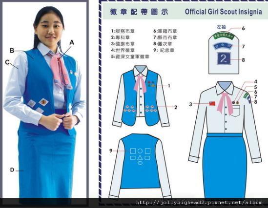 資深女童軍制服 徽章配置圖示