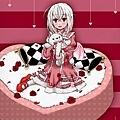 Girl on pink heart cake with pink dress.jpg