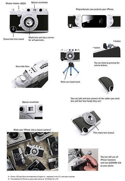 iPhone 4S, 4 偽相機保護殼GIZMON iCA
