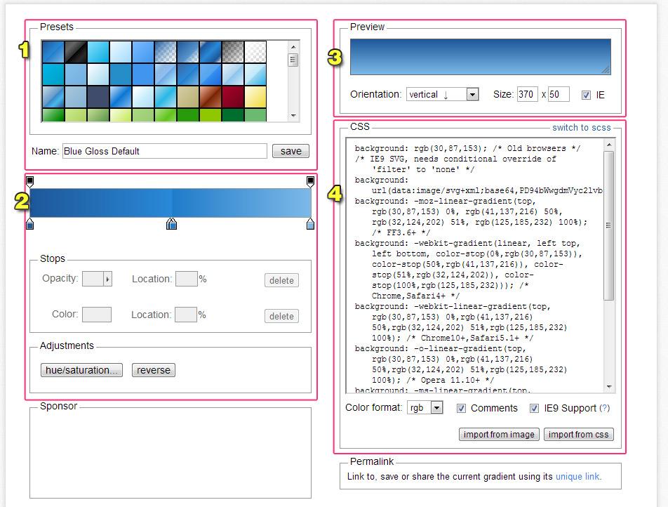 CSS3 漸層背景自動產生器