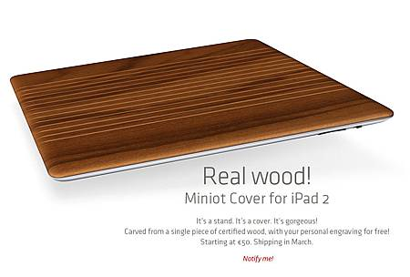 Miniot Cover for iPad 2 Wood