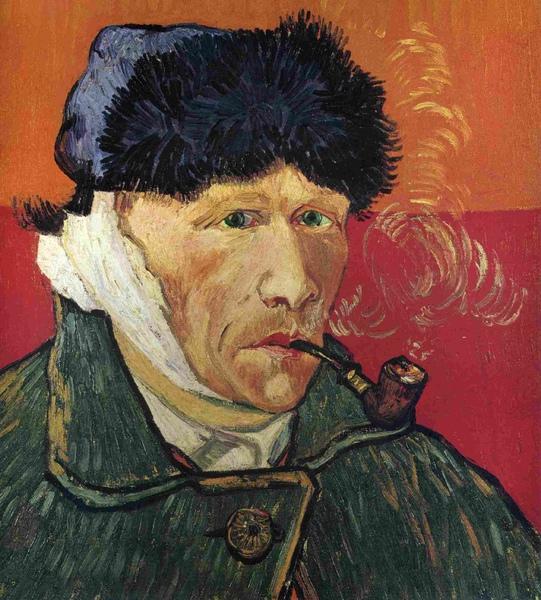 1889吸煙斗的自畫像(割耳的自畫像)1889 51X45.jpg