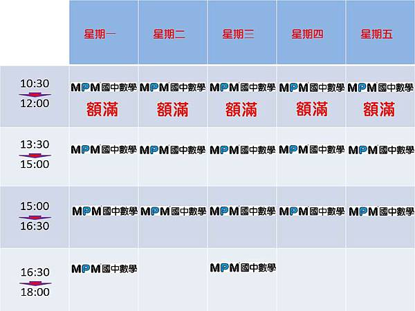 MPM國中數學_2014_暑假上課時段表