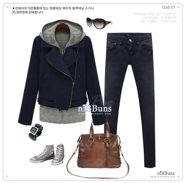 秋冬韓版 二件式翻領短版外套-藍色穿搭.jpg