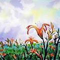 水彩畫~金針花