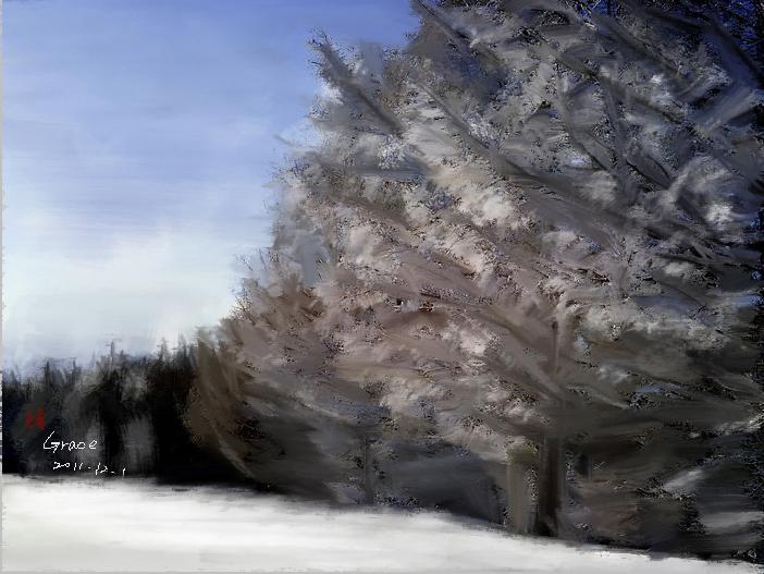 雪景。繪圖Grace.jpg
