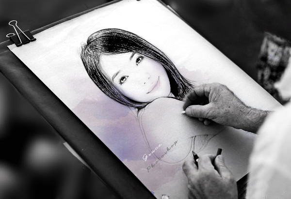 【photoshop簡單合成】畫板上繪製素描.jpg