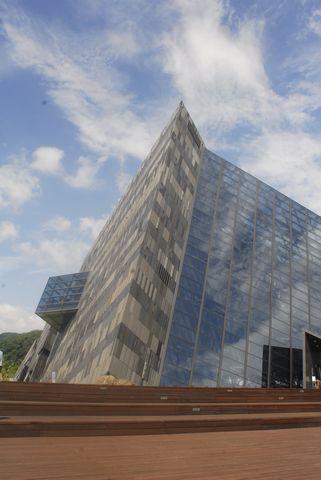 (蘭陽博物館)會隨雨水變色的外牆.JPG