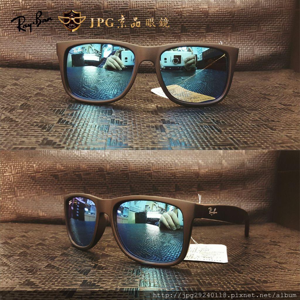 RB4165F 622%2F55 霧黑框%2F藍水銀鏡片